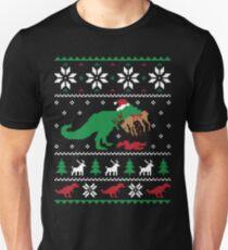 Dinosaur Ugly Christmas Sweater - Funny Christmas Gift Slim Fit T-Shirt