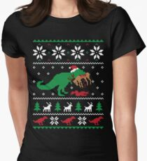 Dinosaur Ugly Christmas Sweater - Funny Christmas Gift Women's Fitted T-Shirt