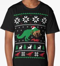 Dinosaur Ugly Christmas Sweater - Funny Christmas Gift Long T-Shirt