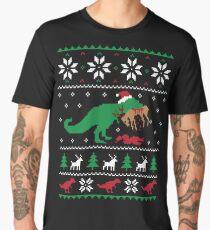 Dinosaur Ugly Christmas Sweater - Funny Christmas Gift Men's Premium T-Shirt