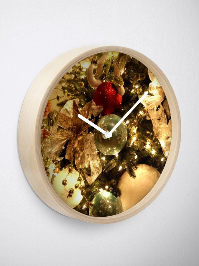 Alternate view of Christmas Decorations on the Tree Clock