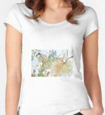 Prickly Pear Cactus and Leaves Women's Fitted Scoop T-Shirt