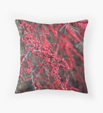 Red berries in Cambridgeshire, England Throw Pillow