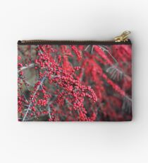 Red berries in Cambridgeshire, England Studio Pouch