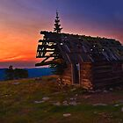 Sunrise At Big Baldy Creek Lookout - Montana by Kathy Weaver