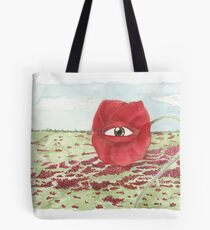 In a field of blind poppies, one eye is king Tote Bag