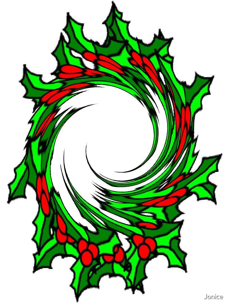 Twisted Christmas Holly Wreath Card by Jonice