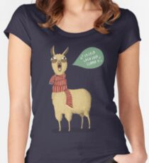 Holiday Llama Women's Fitted Scoop T-Shirt