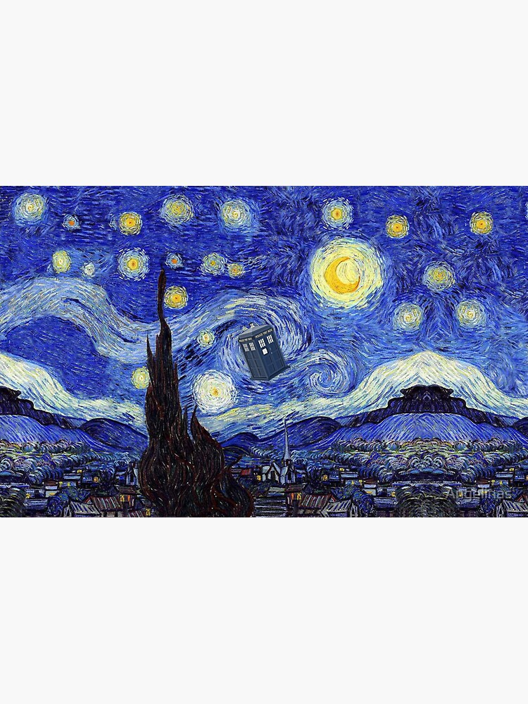 A Starry Night Van Gogh Mountain Inspiration With Tardis by Angelinas