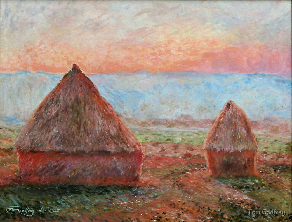 Haystacks - Tom Godfrey after Monet by Tom Godfrey