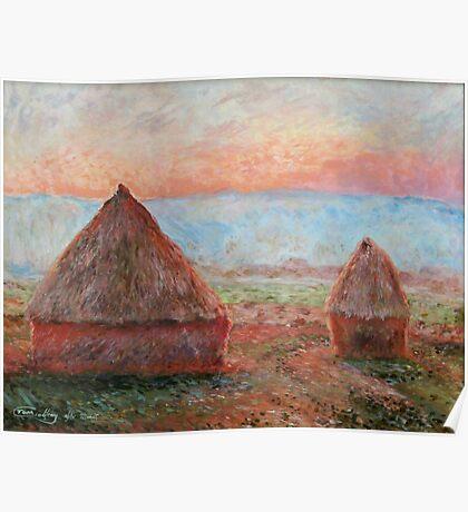 Haystacks - Tom Godfrey after Monet Poster