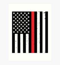 Thin Red Line Flag Firefighter Art Print