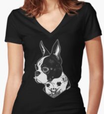 Tattooed Boston Terrier  Women's Fitted V-Neck T-Shirt