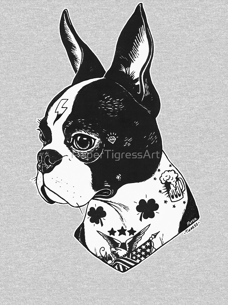 Tattooed Boston Terrier  by PaperTigressArt