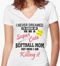 I Never Dreamed Softball Women's Fitted V-Neck T-Shirt