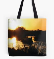 Narrowboat lovers at sunset - Fenland, England Tote Bag