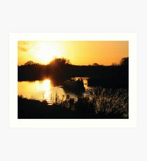 Narrowboat lovers at sunset - Fenland, England Art Print
