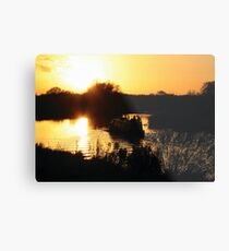 Narrowboat lovers at sunset - Fenland, England Metal Print