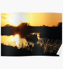 Narrowboat lovers at sunset - Fenland, England Poster