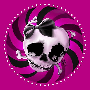 Girly Pink Skull with Black Bow by RUST