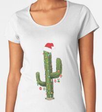 Cactus Christmas Tree Lights Wearing Santa Hat  Women's Premium T-Shirt