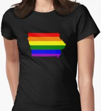 Love Equality Shirts and Gifts - Iowa  LGBTQ Rainbow Pride Adult  Women's Fitted T-Shirt
