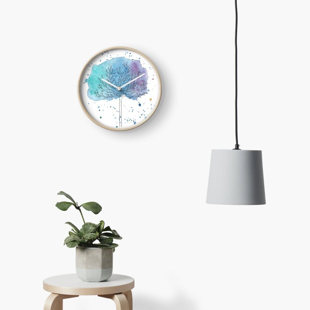 watercolor blue tree Clock