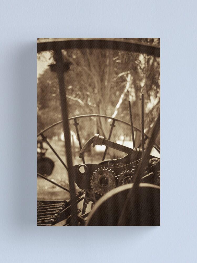 Alternate view of Rusting farm equipment - sepia Canvas Print