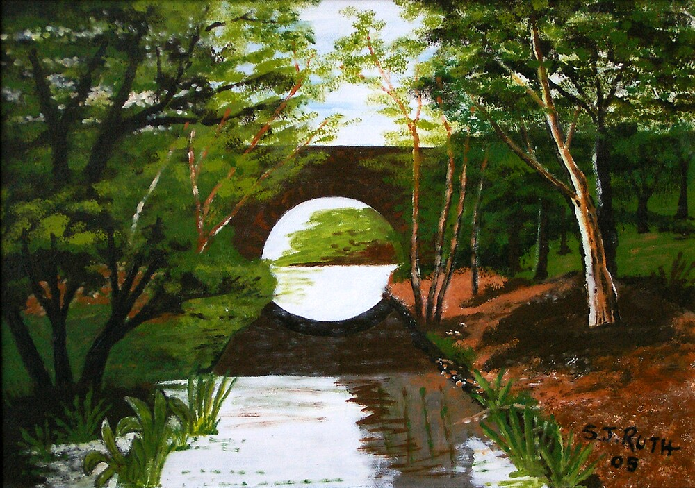 Bridge over stream by Samuel Ruth