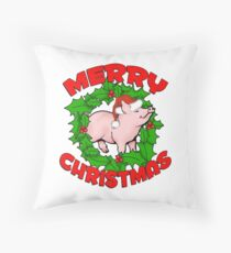 Merry Piggy Christmas Throw Pillow