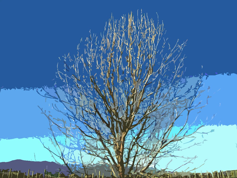Tree on Blue by hebedezign