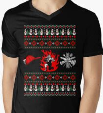 Merry Firefighter  Ugly Christmas Sweater Funny Tshirt Men's V-Neck T-Shirt