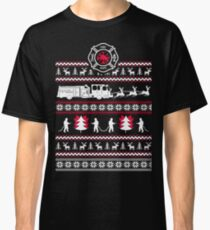 Merry Firefighter Ugly Christmas Sweater Funny Tshirt Classic T-Shirt