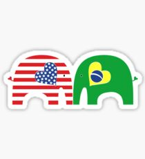 U.S.-Brazil Friendship Elephants Sticker