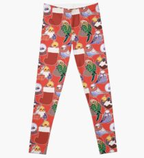 Christmas Budgies & Cockatiels - red Leggings