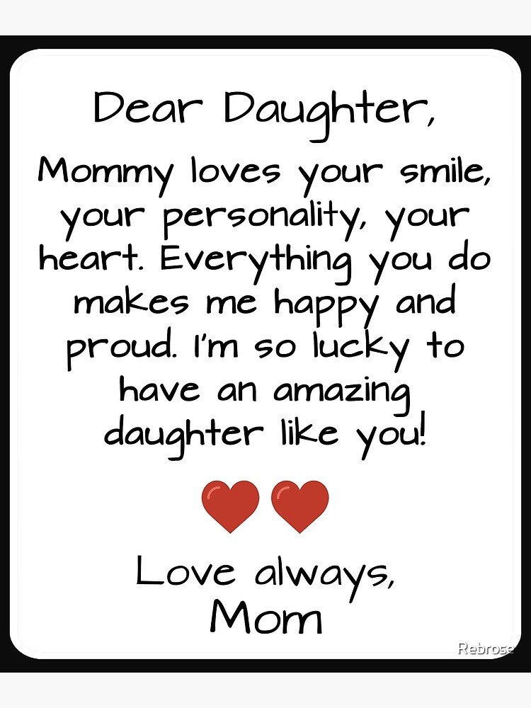 Dear Daughter Quote   Greeting Card