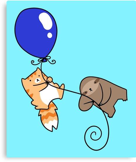 Balloon Sloth and Cat by SaradaBoru