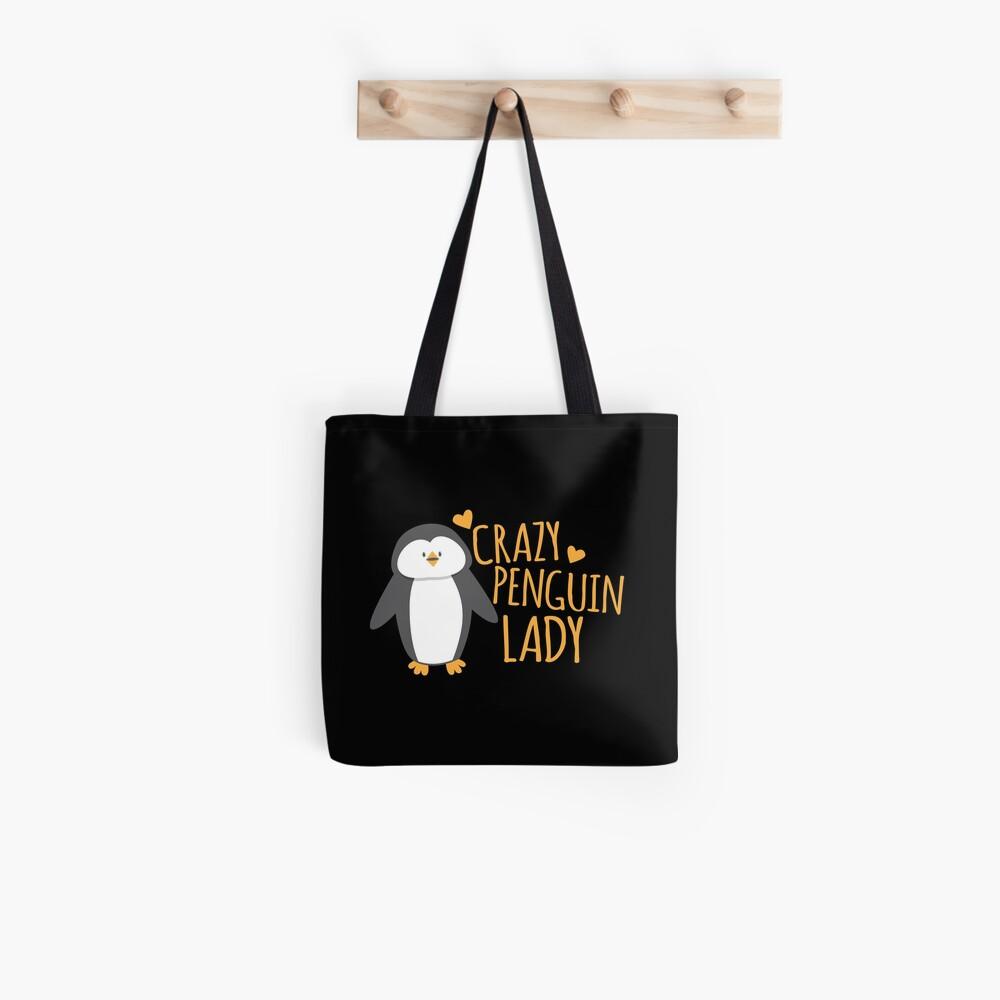Verrückte Pinguin-Dame Stofftasche