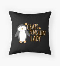 Crazy Penguin Lady  Throw Pillow