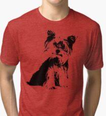 4e2a45e5 Yorkie Terrier Silhouette Tri-blend T-Shirt