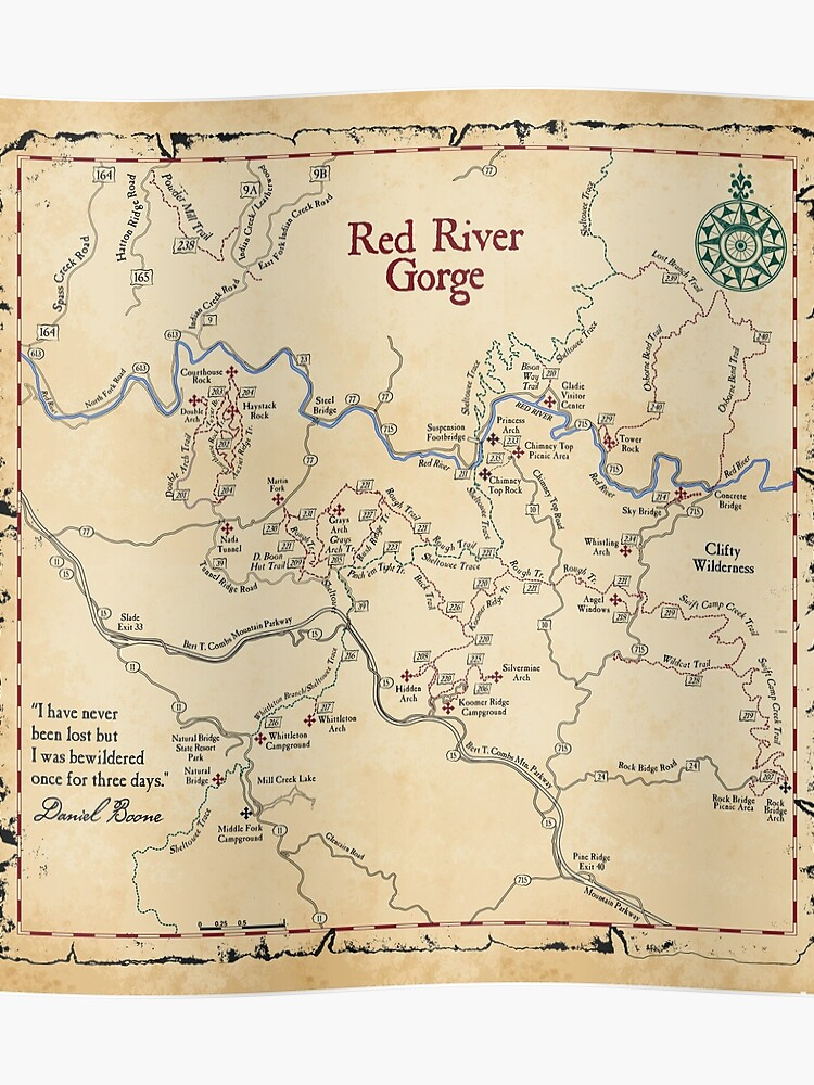 Red River Gorge Map, Daniel Boone National Forest