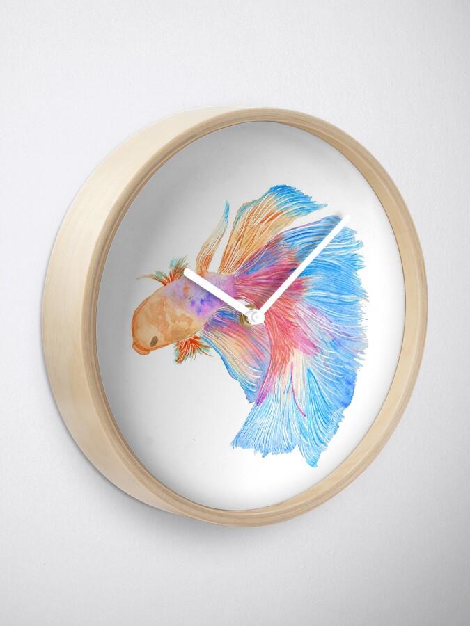 Alternate view of Watercolor beta fish Clock