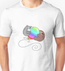 Rainbow Balloon Sloth and Cat Unisex T-Shirt