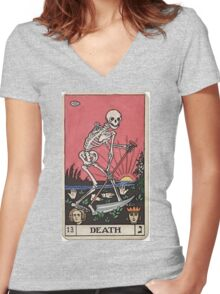Death Tarot Women's Fitted V-Neck T-Shirt