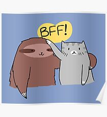 BFF! Sloth and Cat Poster