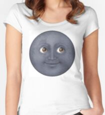 Moon Emoji Women's Fitted Scoop T-Shirt