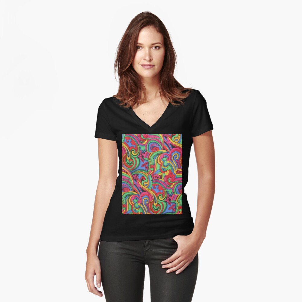 Colorful Psychedelic Paisley Pattern Women's Fitted V-Neck T-Shirt Front