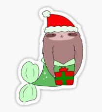 Christmas Mermaid Sloth Sticker