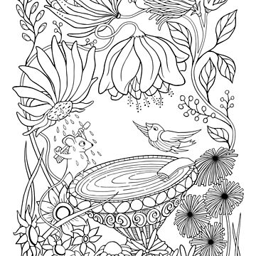 Birdbath Bliss Colour It In by mrana