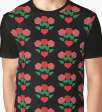 Red Roses & Love Heart Graphic T-Shirt